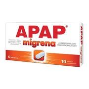 Apap migrena, 250 mg + 250 mg + 65 mg, tabletki powlekane, 10 szt.