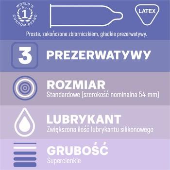 Durex Invisible, prezerwatywy dodatkowo nawilżane, 3 szt.