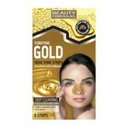 Beauty Formulas, oczyszczające złote paski na noc, Gold, 6 szt