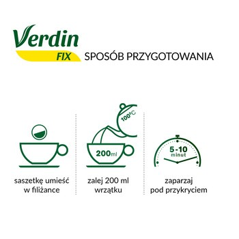 Verdin fix z zieloną herbatą,  zioła do zaparzania, saszetki, 20 szt.