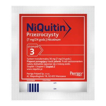 Niquitin przezroczysty, 7 mg/24 h, system transdermalny 36 mg, stopień 3, plastry, 7 szt.