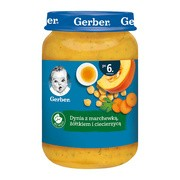 Gerber, dynia z marchewką, żółtkiem i ciecierzycą, 6 m+, 190 g