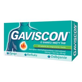 Gaviscon o smaku mięty TAB, tabletki do rozgryzania, żucia, 24 szt.