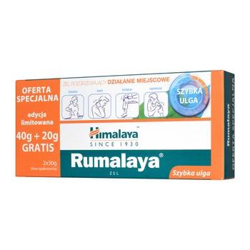 Zestaw promocyjny Himalaya Rumalaya, żel rozgrzewający i łagodzący ból, 40 g + 20 g GRATIS (30 g x 2 szt.)