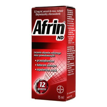 Afrin ND, 0,5 mg/ml, aerozol do nosa, 15 ml