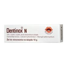 Dentinox N, 15% + 0,34% + 0,32%, żel na dziąsła, 10 g
