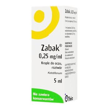 Zabak, (0,25 mg/ml), krople do oczu, 5 ml