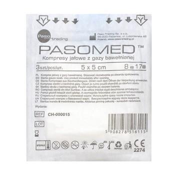 Kompresy gazowe, jałowe, 17-nitkowe, 8-warstwowe, 5 x 5 cm, 3 szt. (Pasomed)