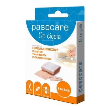 Pasocare Classic Plus, plaster tkaninowy z opatrunkiem, 1 m x 6 cm, 1 szt.