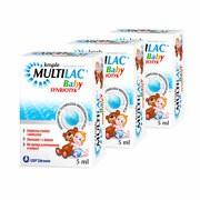 Zestaw 3x Multilac Baby, krople, synbiotyk, 5 ml