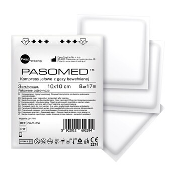 Kompresy gazowe jałowe, Pasomed, 17-nitkowe, 8-warstwowe, 10 cm x 10 cm, 3 szt.