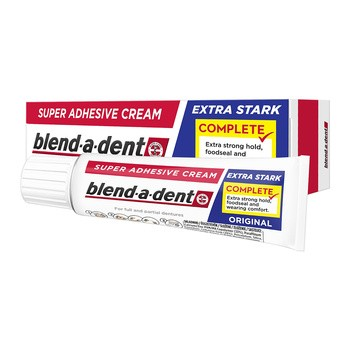 Blend-a-dent Super Adhesive Cream, klej do protez, Extra Stark Original, 47g