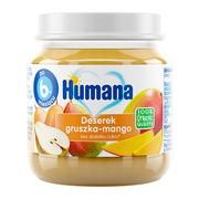 Humana 100% Organic, Deserek gruszka-mango, 6 m+, 125 g