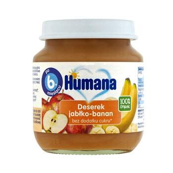 Humana 100% Organic Deserek jabłko-banan, bez dodatku cukru, 6 m+, 125 g