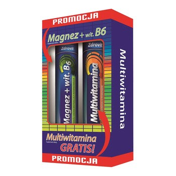 Zestaw Promocyjny Zdrovit Magnez + Witamina B6, tabletki musujące, 24 szt.+ Zdrovit Multiwitamina, 20 szt. GRATIS
