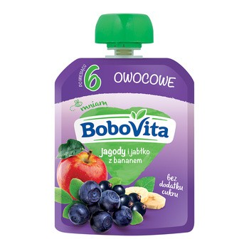 BoboVita, mus jagody i jabłka z bananem, 6m+, 80 g