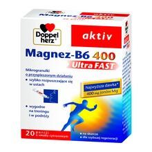 Doppelherz aktiv Magnez-B6 UltraFAST 400, granulki musujące w saszetkach, 20 szt.