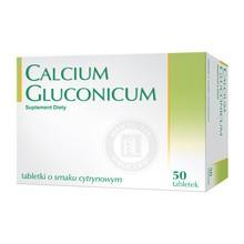 Calcium gluconicum, tabletki o smaku cytrynowym, 50 szt