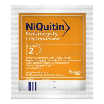 Niquitin przezroczysty, 14 mg/24 h, system transdermalny 78 mg, stopień 2, plastry, 7 szt.