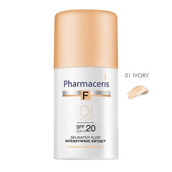 Pharmaceris F, delikatny fluid intensywnie kryjący, Ivory 01, SPF 20, 30 ml