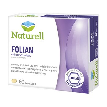 Naturell Folian, 400 µg kwasu foliowego, tabletki, 60 szt.