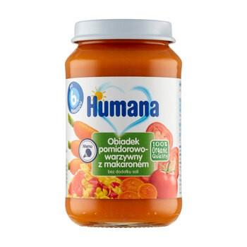 Humana 100% Organic, obiadek pomidorowo-warzywny z makaronem, bez dodatku soli, 6 m+, 190 g