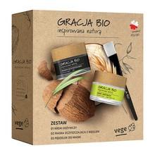 Zestaw Promocyjny Gracja Bio, krem odżywczy, ekstrakt z owsa + maska oczyszczająca z węglem + pędzel do maski
