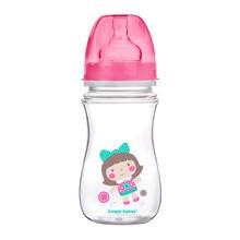 Canpol Easy Start Toys, butelka szerokootworowa, antykolkowa, różowa, 240 ml