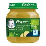 Gerber Organic, przecier zielony groszek brokuły cukinia, 4 m+, 125 g