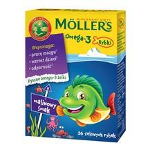 Mollers Omega-3 Rybki, żelki, smak malinowy,  36 szt.