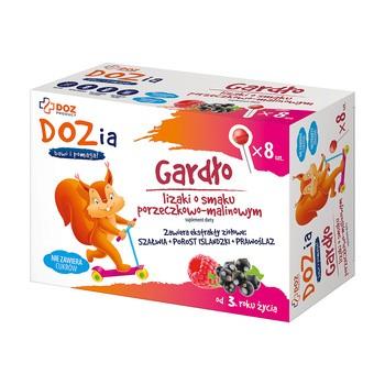 DOZ Product Gardło, lizaki, smak porzeczkowo-malinowy, 8 szt.