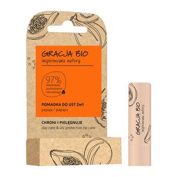 Gracja Bio, pomadka do ust 2w1, ochronno-pielęgnacyjna, papaja, 5 g