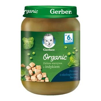 Gerber Organic, obiadek zielone warzywa z indykiem, 6 m+, 190 g