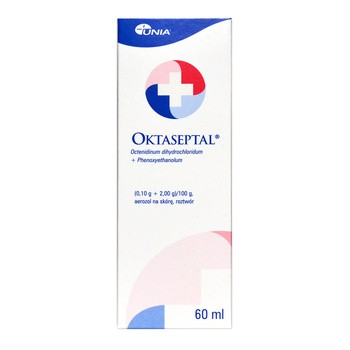 Oktaseptal, (0,10 g+2,00 g)/100 g, aerozol na skórę, 60 ml