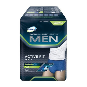 TENA Men Pants Plus OTC Edition, majtki chłonne, rozmiar L, 8 szt.