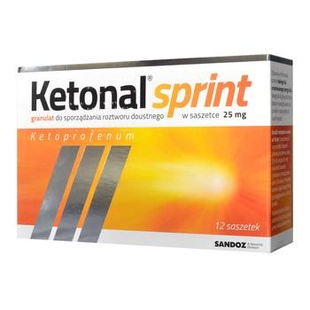 Ketonal Sprint, 25 mg, granulki do sporządzania roztworu doustnego, 12 saszetek