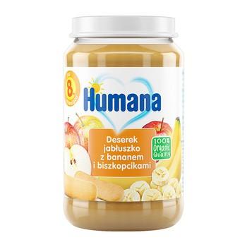 Humana 100% Organic, Deser jabłko-banan z biszkoptami, 8 m+, 190 g
