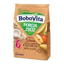 BoboVita Porcja Zbóż, kaszka mleczna 3 zboża, jabłko-gruszka, 6m+, 210 g