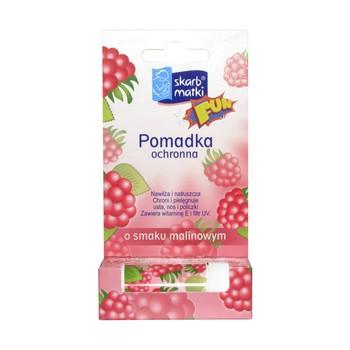 Skarb Matki, pomadka ochronna dla dzieci do ust, policzków i noska, smak malinowy, 6,5 g