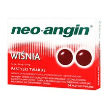 Neo-Angin wiśnia, pastylki twarde, 24 szt.