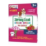 Zdrowy Lizak Mniam-Mniam na gardło, smak malina, 5 szt.