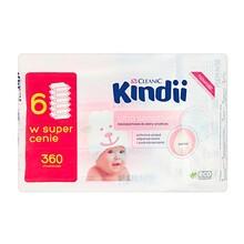 Cleanic Kindii, Ultra Sensitive, chusteczki nawilżane dla niemowląt i dzieci, do skóry wrażliwej, 60 szt. x 6 opakowania
