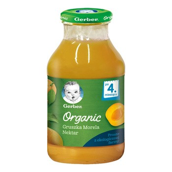 Gerber Organic, nektar gruszka morela, 4 m+, 200 ml