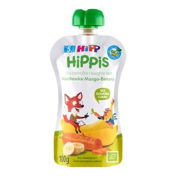 HiPP HiPPiS BIO, mus marchewka, mango, banany, po 5. miesiącu, 100 g
