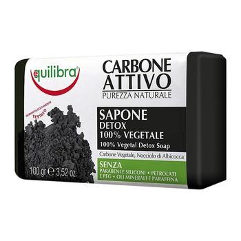 Equilibra, oczyszczające mydło 100% roślinne z aktywnym węglem, 100 g