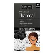 Beauty Formulas, paski oczyszczające na nos z aktywnym węglem, 6 szt.