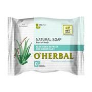 O`Herbal, naturalne mydło z ekstraktem z aloesu i zieloną glinką, 100 g