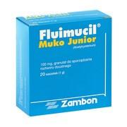 Fluimucil Muko Junior, 100 mg / 1 g, granulat, 20 saszetek