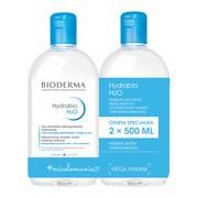 Bioderma Hydrabio H2O, nawilżający płyn micelarny do oczyszczania twarzy i zmywania makijażu, 500 ml x 2