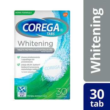 Corega Tabs Whitening, tabletki wybielające protezy zębowe, 30 szt.